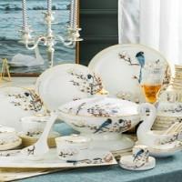 商务赠品奢华欧式景德镇骨瓷餐具碗盘碟欧式陶瓷碗盘子描金餐具